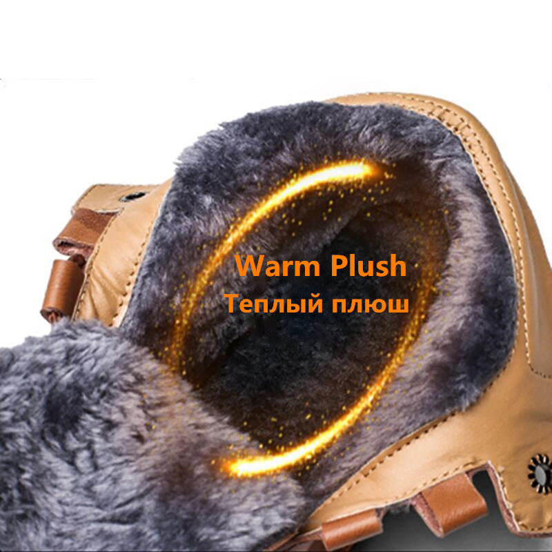 High Quality Leather Autumn Winter Men Boots Warm Plush Snow Boots Outdoor Fur Motorcycle Boots Ankle Boots Men's Shoes Size 48 4