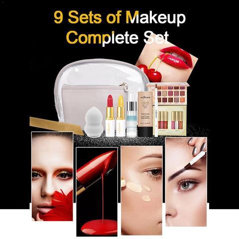 9 pcs set uso diario conjuntos de maquiagem batom presente de alto brilho sombra em
