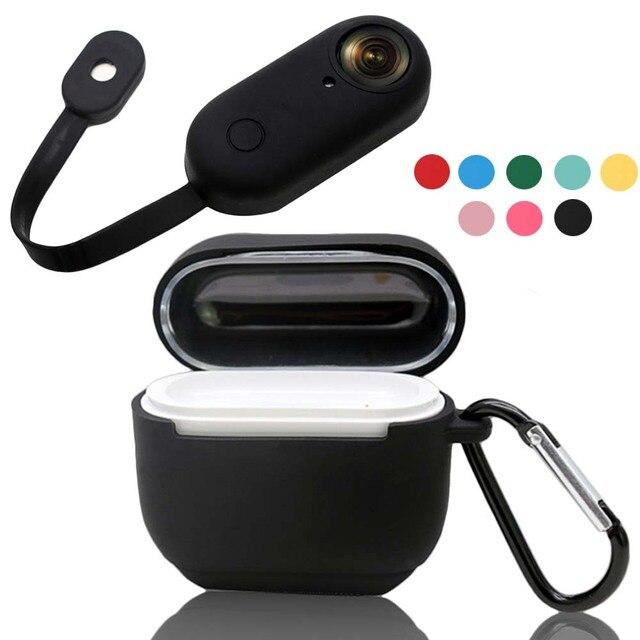 Insta360 용 jinserta 케이스 go 카메라 및 충전 박스 소프트 실리콘 보호 커버, 스트랩 anti lost hook for insta360 go