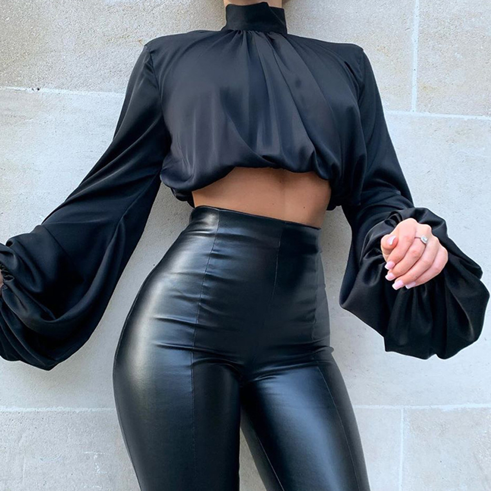 Turleneck Solid  Blouses Women Shirt Backless 2020 Women Blouse Long Sleeve Bow Tie Womens Tops And Blouses Blusa Feminina