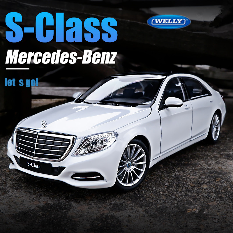 Welly 1:24 Mercedes Benz S-Class Silver Simulation Alloy Car Model Collect Gifts Toy