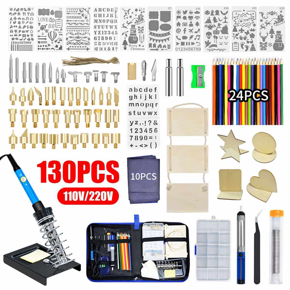130PCS 220V 110V 60W DIY Adjustable Temperature Electric Soldering Iron Welding Kit