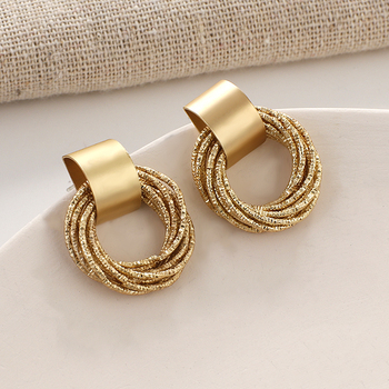 Flashbuy Fashion Gold Round Alloy Earring For Women Unique Statement Drop Earrings Wedding Jewelry Trendy Accessories trendy women jewelry earrings ear line 18k gold chain with star pendant charms drop earrings fashion wedding earring