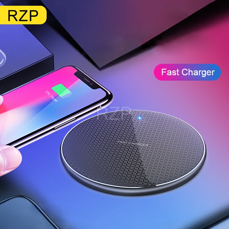 RZP Fast Wireless Charger For Apple IPhone Xs Max XR 8 Plus Samsung S8 S9 S10 Plus Note 9 10 Phone Charger Qi Wireless Charger