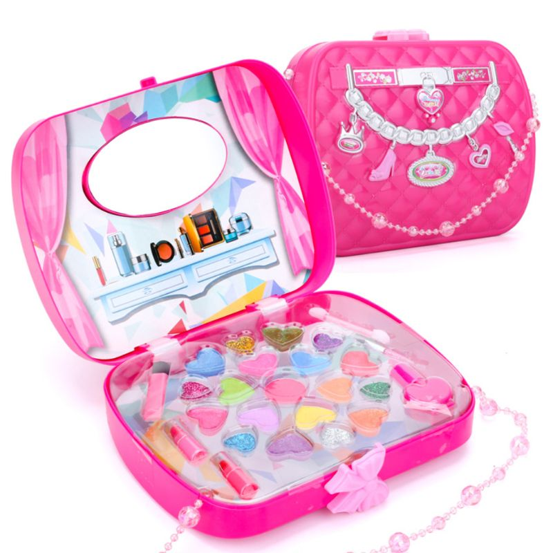 1Set Children Pretend Makeup Game Toys Hair Dryer Lipstick Girl Play House Makeup Handbag Toy Simulation Drama Props Kids Gifts image