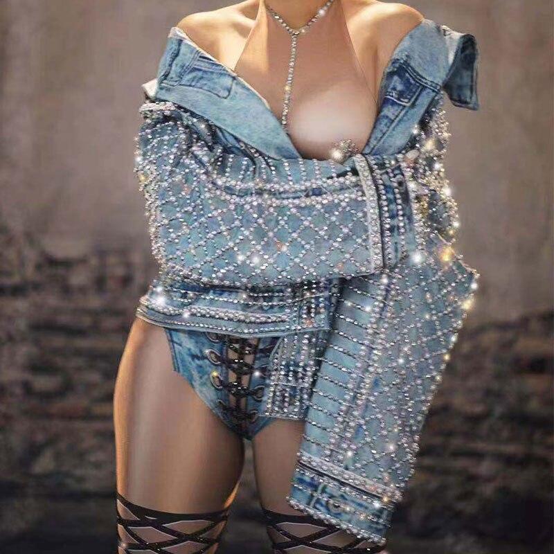 New Fashion Women Rhinestones Jacket Men And Women Hip Hop Jazz Dance Wear Coat Bar Nightclub DJ Gogo Dance Outfit