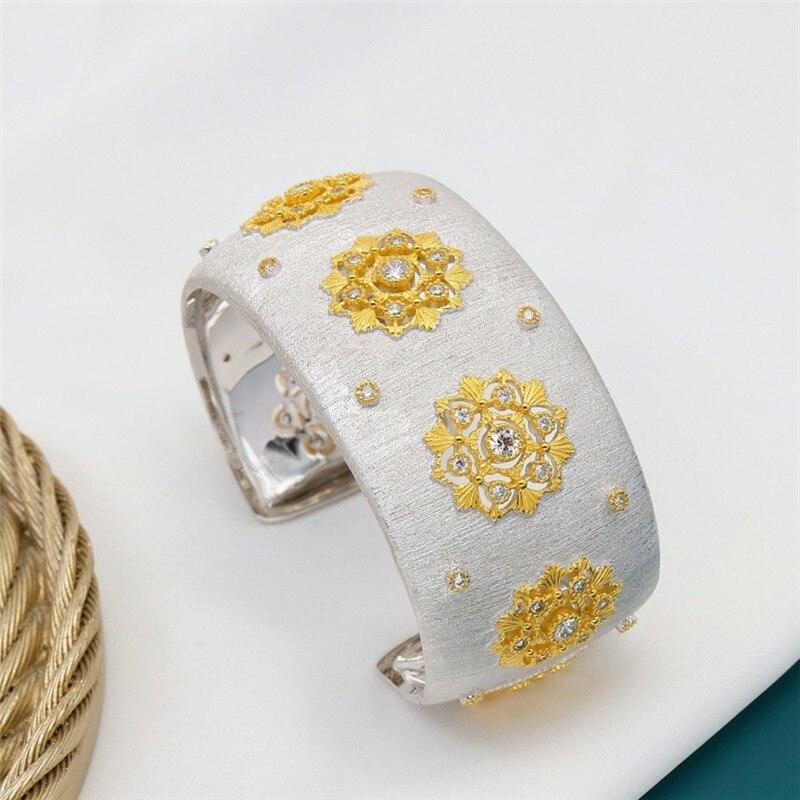 CMajor S925 Sterling Silver Fine Jewelry Delicate Temperament Flower Shape Wide Cuff Bangles for Women Valentine's Day Gift - 2