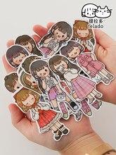 JIANWU – autocollant en PVC quatre saisons pour fille, étiquette de décoration, matériel à motifs de personnages mignons, papeterie à la mode, 20 feuilles