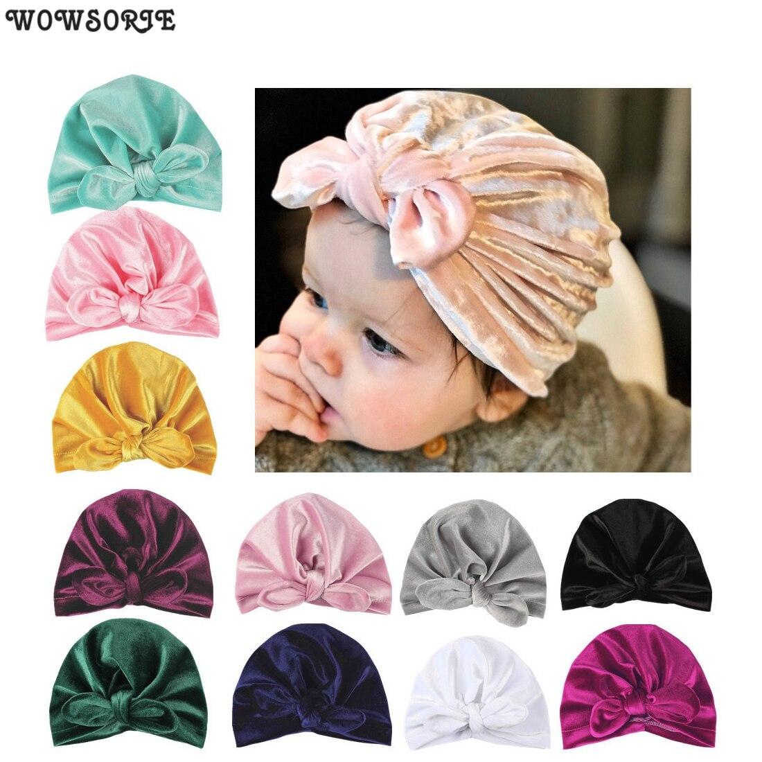 Toddler Baby Soft Velvet Winter Hats Indian Turban Caps Bohemia Style Head Wrap