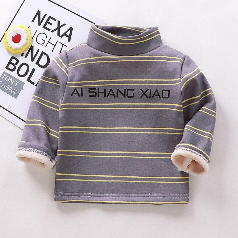 Autumn Winter Warm Solid Polyester Clothes Baby Boys Girls T Shirt Toddler Kids Long Sleeve T-shirt Children Underwear Clothing 1
