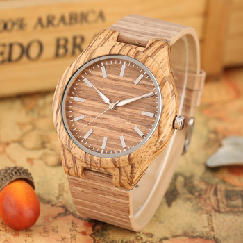 Creative Men Wrist Watch Bamboo Wooden Watches Fashion Stripe Dial Wood Clock Leather Band Wooden Wristwatch Gifts for Male