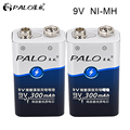 2 шт.! Аккумуляторная батарея PALO 9 В 6F22 Ni-MH nimh 300 мАч 9 В  батарея для цифровой камеры  игрушки с дистанционным управлением  металлоискатель