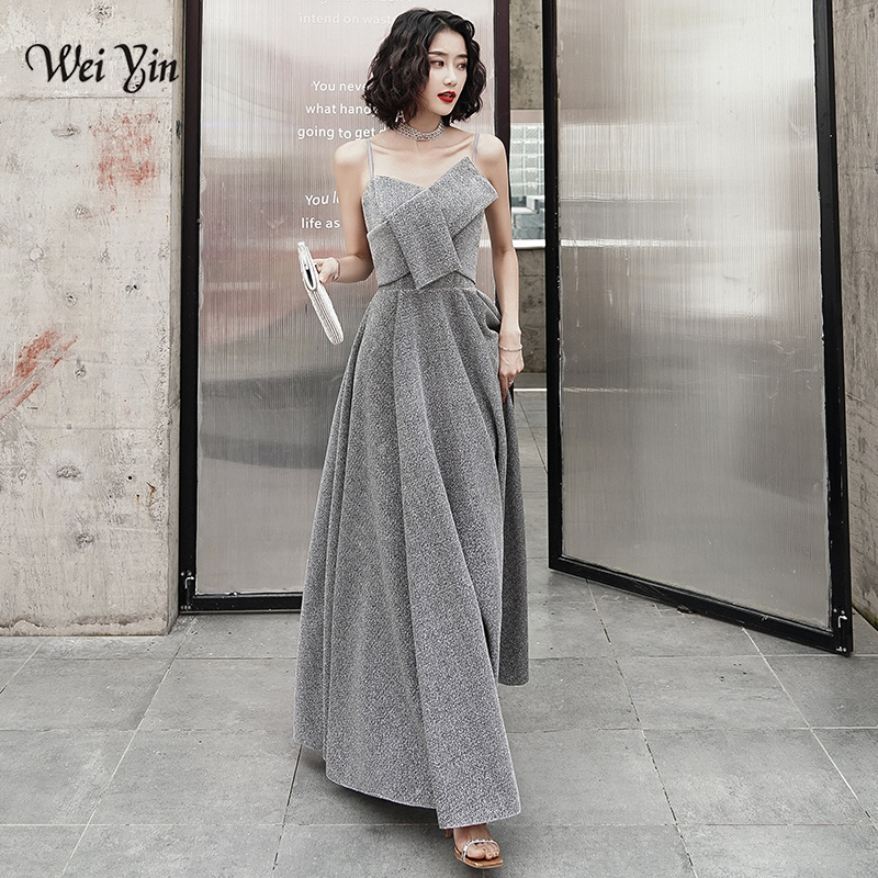 AE0140 wei yin 2019 Sexy V-Neck Backless   Evening     Dresses   Satin Long Robe De Soiree Grey Spaghetti Strap Party Gowns Real Picture