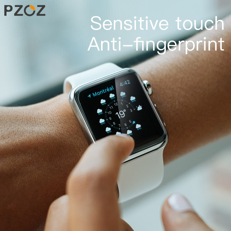 PZOZ For iWatch 4 3 Hydrogel Film Full Screen Protector Glass For Apple Watch 1 2 3 4 Tempered Film HD Curve Edge Glass 38/42mm-in Smart Accessories from Consumer Electronics