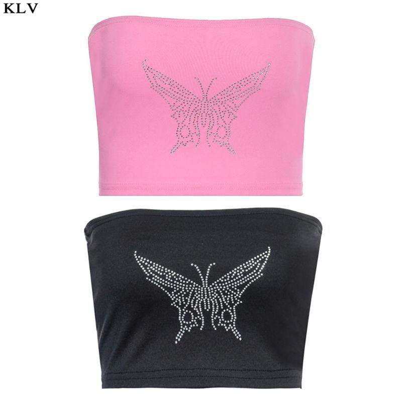 Women Sexy Strapless Bandeau Bra Glitter Butterflies Hot Drilling Rhinestone Wrapped Chest Tube Top Bustier Clubwear