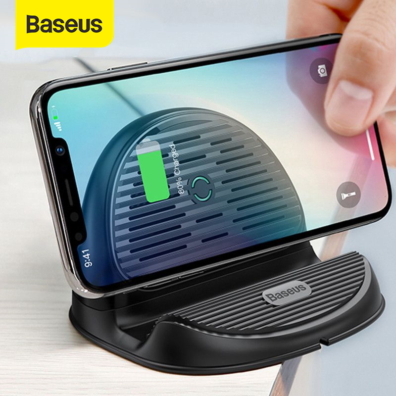 Baseus Desktop QI Wireless Charger 10W Radiating Fan Wireless Fast Charging Charger For IPhone XS Max XR Samsung S9 S8 Note 10 9