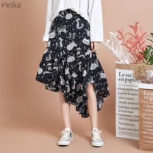 Image 3 - ARTKA 2020 אביב חדש נשים חצאית אופנה חתול הדפסת חצאית סדיר עיצוב שיפון חצאיות אלגנטי פרע חצאית נשים QA15297Q