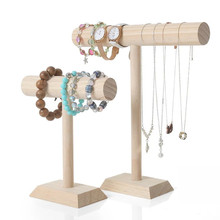 Wood T Bracelet Holder Jewelry Necklace Bangle Stand Organizer Display Storage Case Organization Show Shop Home Decor Women Gift