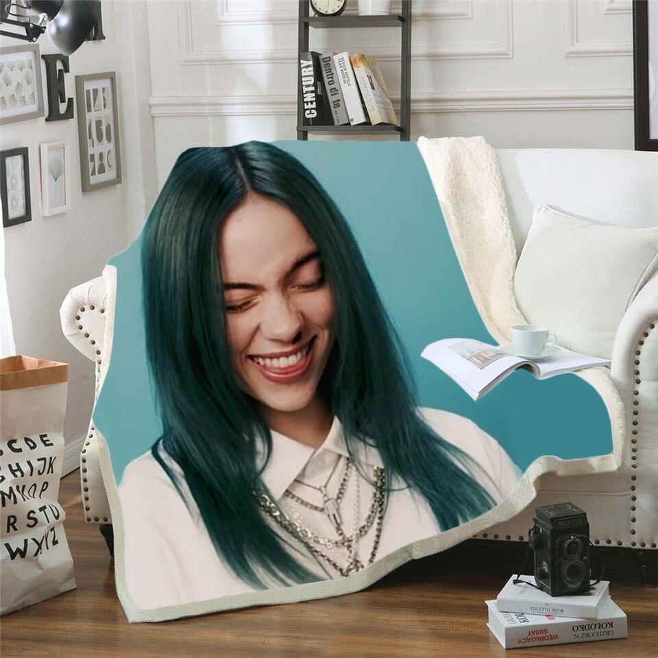 Billie Eilish Singer 3D Printing Plush Fleece Blanket Adult Fashion Quilts Home Office Casual Kids Sherpa Blanket 15