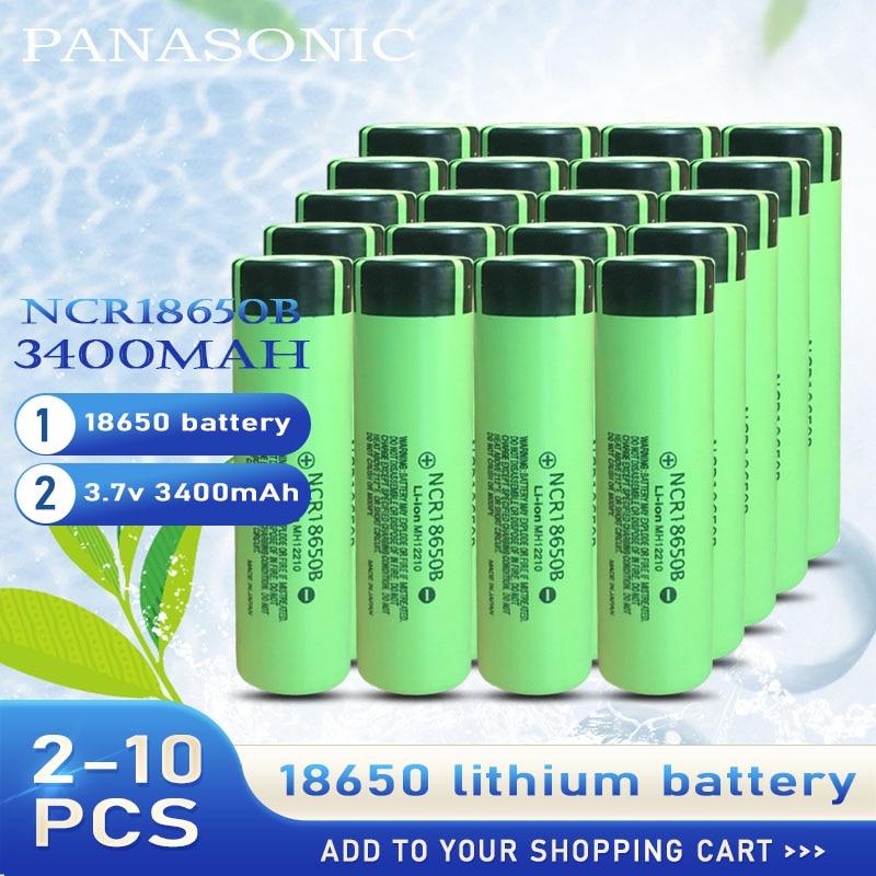Литиевая аккумуляторная батарея Panasonic NCR18650B, 3,7 в, 3400 мАч, 2-10 шт.