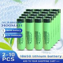 Panasonic – batterie Rechargeable au Lithium, 3.7v, 3400mah, pour ordinateur portable, lampe de poche, 2 à 10 pièces, NCR 18650B, 18650