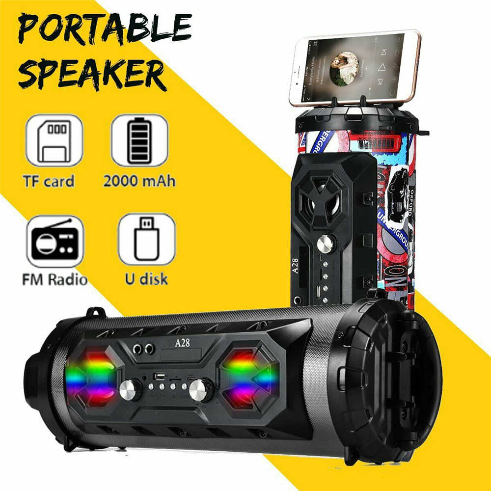 Portabel Bluetooth Speaker HI FI Musik LED Light Speaker Outdoor Nirkabel Speaker Ponsel Pemegang FM Radio TF Kartu USB Disk U aux