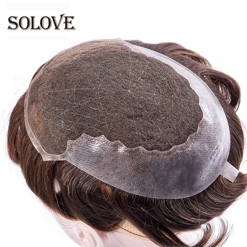French Lace & Transparent Thin Skin Toupee Replacement Systems Handmade Men Wig Hairpiece Natural Remy Indian Human Hair 6 Inch