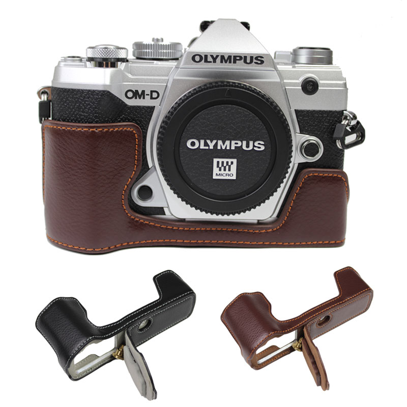 Genuine Leather Camera bag Case For OLYMPUS OMD E-M5 MARK III EM5III E-M5 MarkIII Protective Cover With Battery Opening