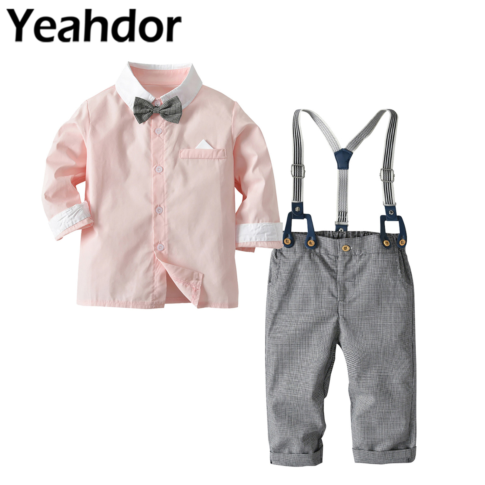 2Pcs Baby Boys Clothes Set Gentleman Outfits Long Sleeve Shirt Pants Children Clothing Sets Boys Wedding Suits Party Costume