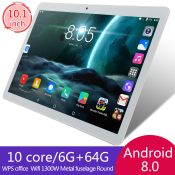 KIVBWY Tablet 10.1 inch LTE 4G Phone Call Tablets Octa Core Android 8.0 Tablet pc 6G+64G WiFi GPS Bluetooth Dual SIM IPSScreen10