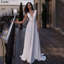 Lorie Beach Wedding Dress A-Line Gown White Ivory Custom made Boho Backless Simple V-Neck Bridal Dresses