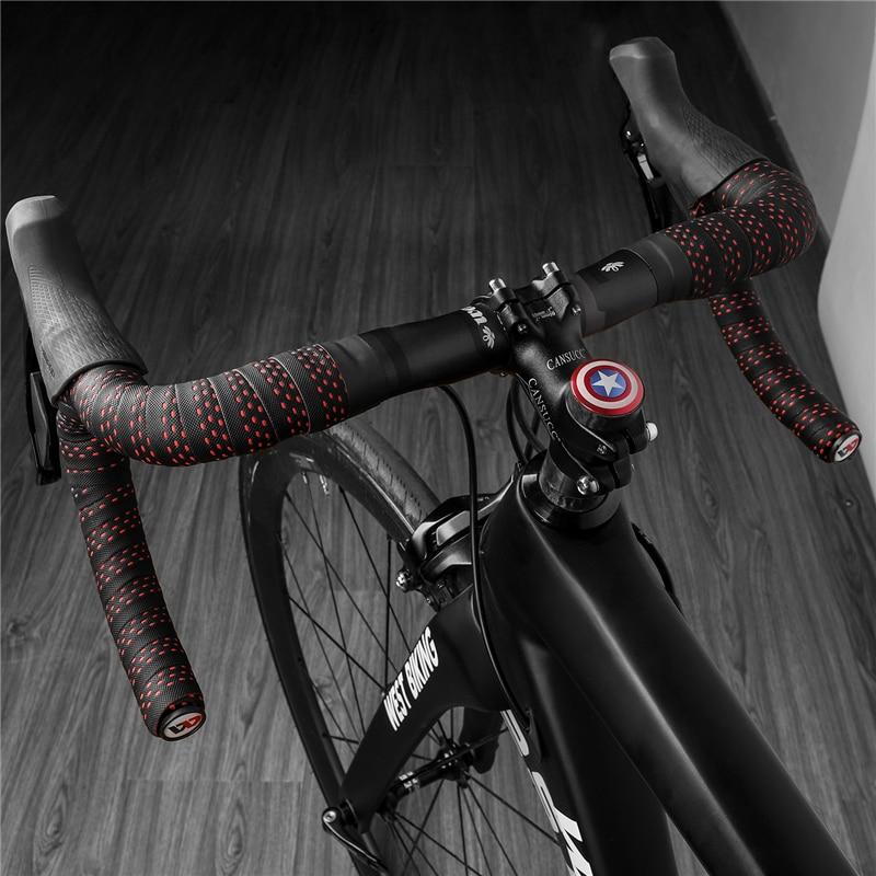 para bicicleta de carreras Westgirl antideslizante con tap/ón final 2 ruedas espuma EVA suave dise/ño de cr/áneo Cinta para manillar de bicicleta