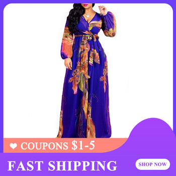 Blue Floral Print Chiffon Women Long Dress Summer 2020 Boho Elegant Belted Prom Party Dress Plus Size V-Neck Long Sleeve Robe summer floral print chiffon beach long dress women sexy deep v neck party dress short sleeve casual boho bandage dress cuerly