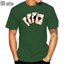 Los ases 4 de un tipo popular juego de cartas jugador de póquer estampado con dibujo camiseta Unisex negro en los hombres t camisa