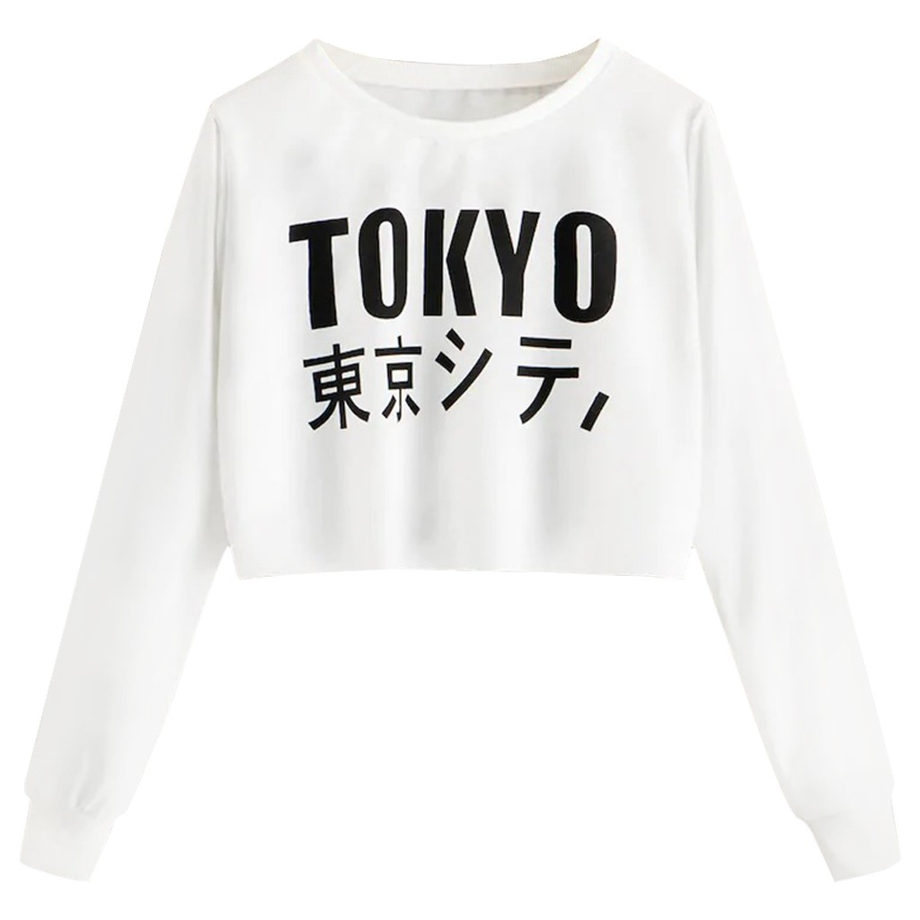 New Hoodies & Sweatshirts Women Autumn O Neck Long Sleeve Letter Print Crop Sweatshirt Casual Blouse Tops Clothing Drop Shipping