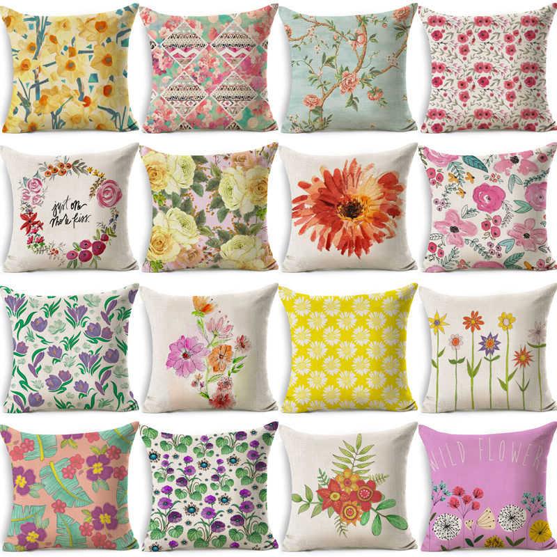1 adet renkli çiçek desen pamuk keten atmak yastık minder örtüsü araba ev çekyat dekoratif yastık kılıfı Funda Cojin 40031