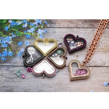 10Pcs/Lot Magnetic Glass Locket Rhinestone Stainless Steel Memory Floating  Chain Heart