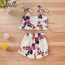 ZAFILLE 2020 2Pcs Baby Girl Clothes Floral Printed Sleeveless Top+Shorts Toddler Outfits Sets Summer Girls Suits Kids Clothes