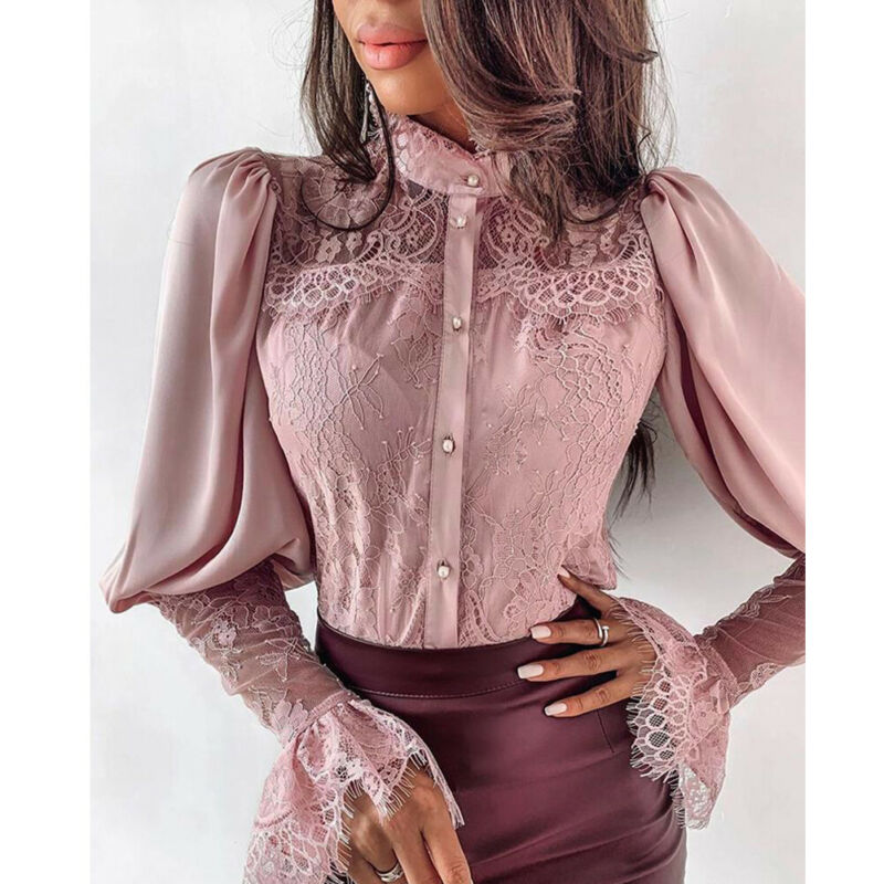 2020 Newest Hot Women Lace Patchwork Long Sleeve Button Down Shirt Sexy OL Solid Color Floral Loose Lapel Blouse Shirt Tops