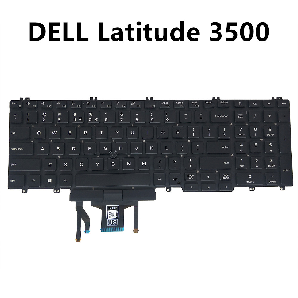 UI keyboard for <font><b>Dell</b></font> latitude 15 <font><b>3500</b></font> UI black with Trackpoint backlight specs 0M25NK NSK-EX0BC PK132FA1B01 M25NK CN-0M25NK image