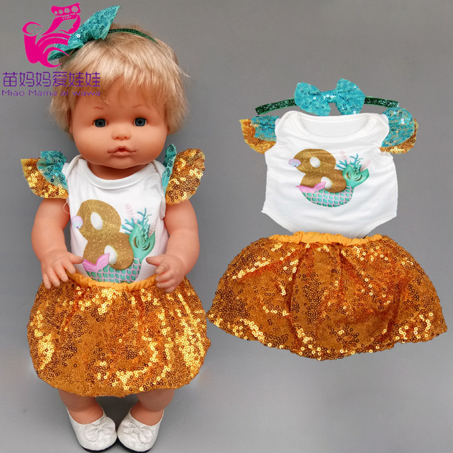 40cm doll Sequins dress shirt set for 42cm Nenuco Ropa y su Hermanita 17 inch baby doll clothes