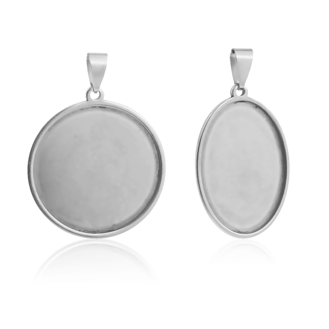5pcs/lot Stainless Steel Oval Round Square Pendant Cabochon Base Setting Tray Blank 30x40mm Cabochons Jewelry Making Supplies