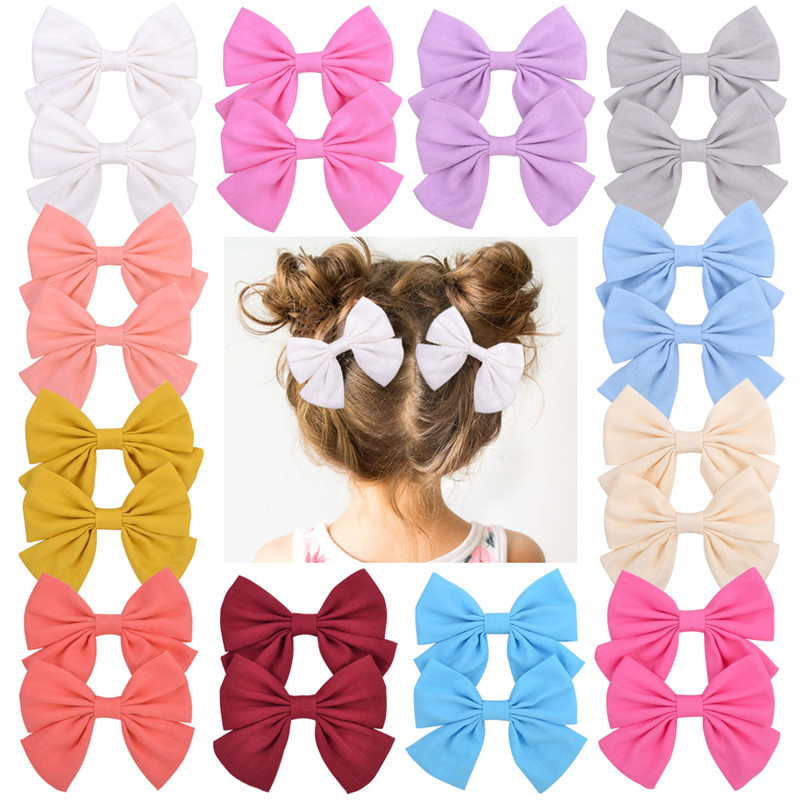 2Pcs/set 3.55 Inch Boutique Grosgrain Ribbon Print With Clips Kids Girl Handmade Hair Bows Hairpin Baby Girl Hair Accessories
