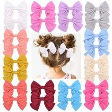 цена на 2Pcs/set 3.55 Inch Boutique Grosgrain Ribbon Print With Clips Kids Girl Handmade Hair Bows Hairpin Baby Girl Hair Accessories