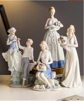 European Ceramic Woman And Man Ornaments Office Hotel Desktop Furnishing Decoration Home Livingroom Table Accessories Crafts Art