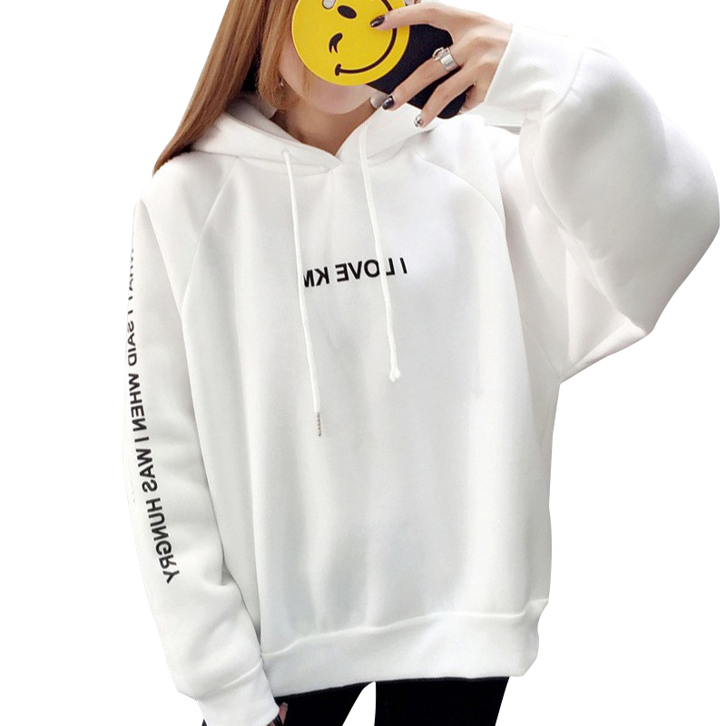 NORMOV Fashion Harajuku Letters Printing Casual Hooded Hoodies Pullover Women Autumn Thick Loose  Female Thicken Coat