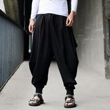 Мужские шаровары, хлопковые льняные свободные праздничные мешковатые однотонные брюки, ретро цыганские штаны, удобные высококачественные мужские штаны