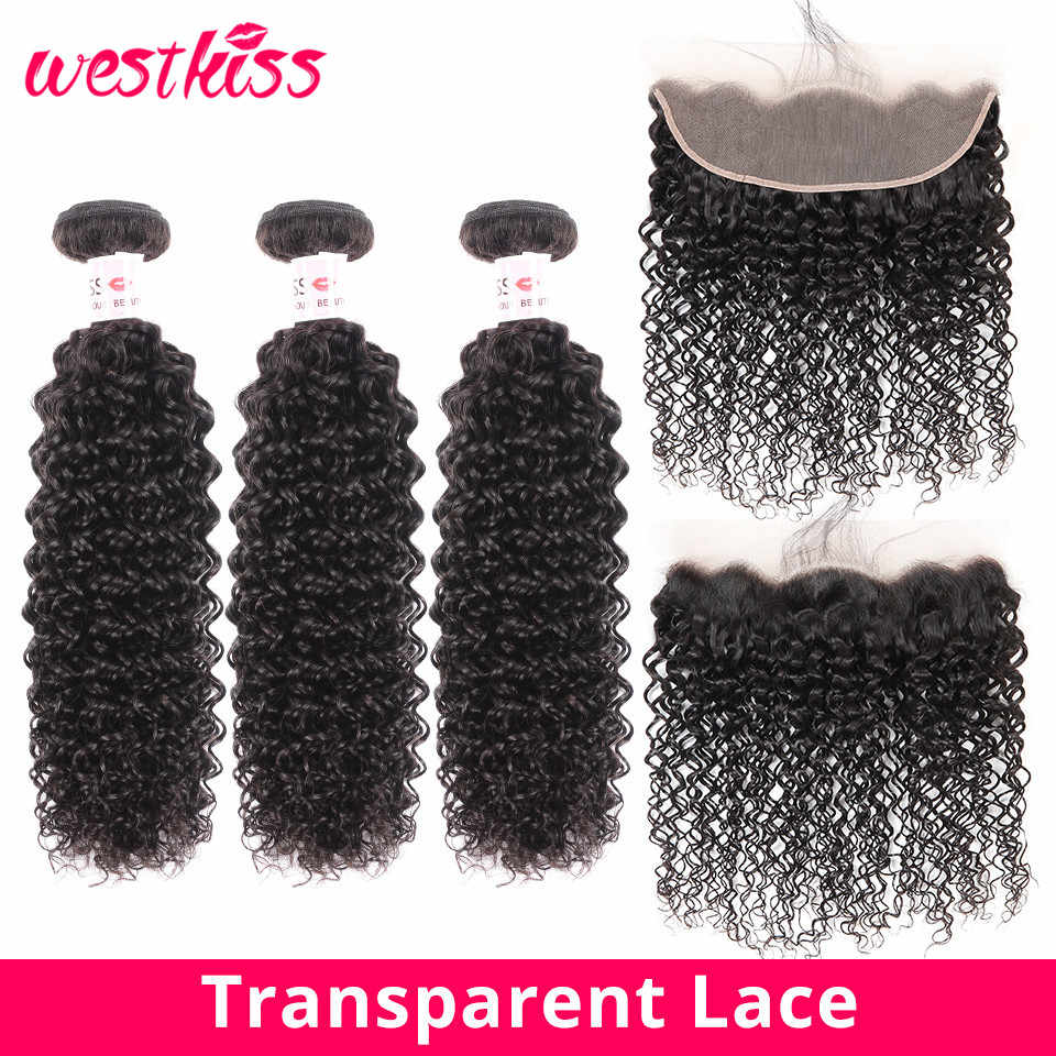 "West Kiss Transparent Lace Frontal With Bundles Malaysian Curly Human Hair Extensions 8-24""  Pre Plucked Frontal H Remy"