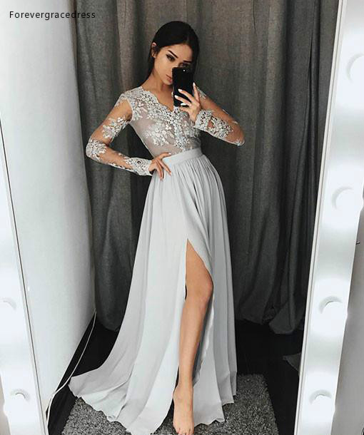 2019 V Neck Long Sleeves Prom Dress A Line Split Formal Holidays Wear Graduation Evening Party Gown Custom Made Plus Size