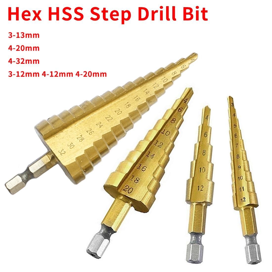 3-13mm /3-12mm 4-12mm 4-20mm HSS Steel Step Drills Bit Tool Hex Shank Coated Metal Drill Bit Cut Tool Set Hole Cutter